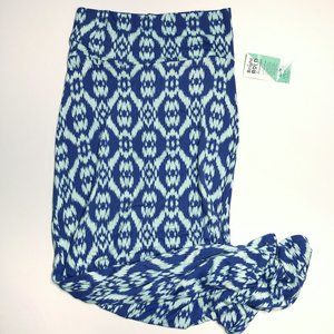 Honey and Lace Marina Maxi Skirt Blue Geometric S